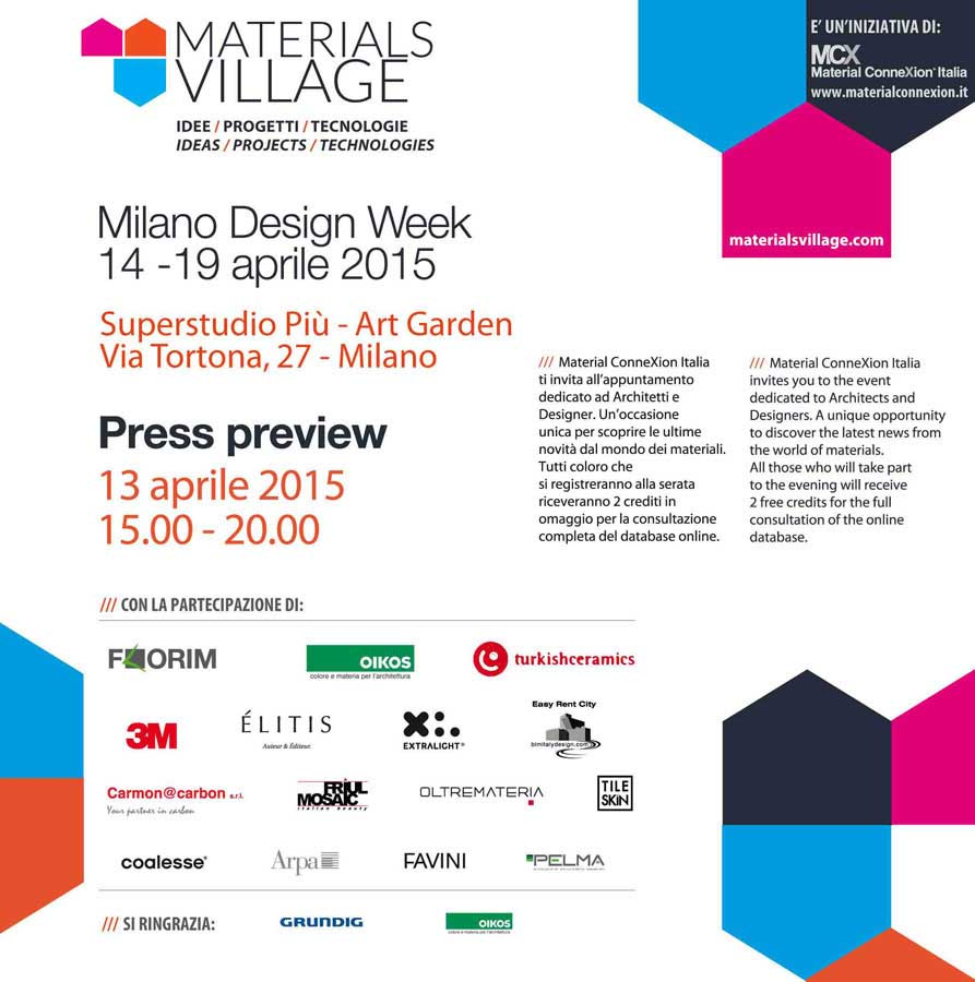 Materials Village ospita la mostra di MCI Contest