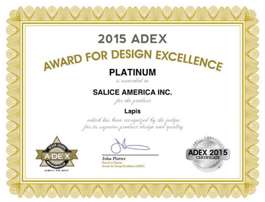 Il sistema di cerniere Lapis di Salice si aggiudica il premio Adex 2015  2