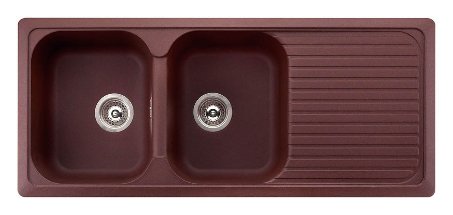 Lavelli sintetici con finitura rame a due vasche con gocciolatoio