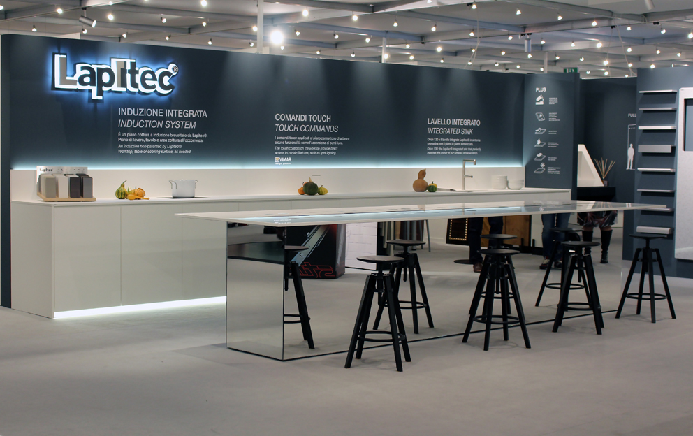 Lapitec® stone kitchen countertop with integrated touch sink