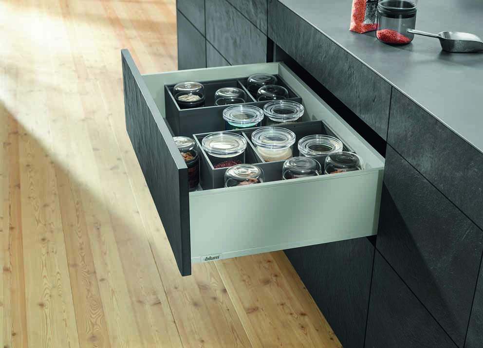New colours and designs for Blum's Tandembox and Legrabox drawer systems 10136