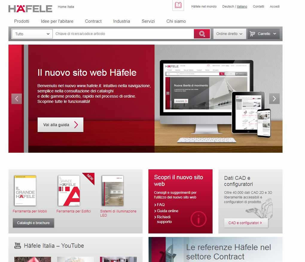 The new site hafele.it improved in design and in functionalities