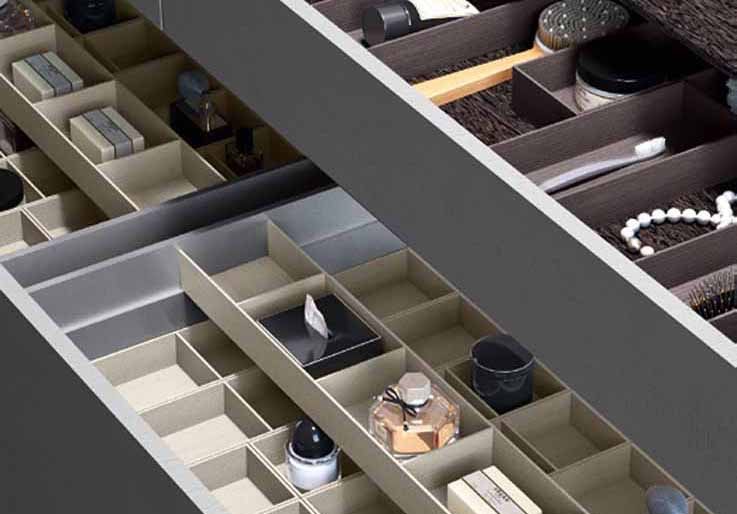 Salice Split container system: optimizing the interior space of the drawers