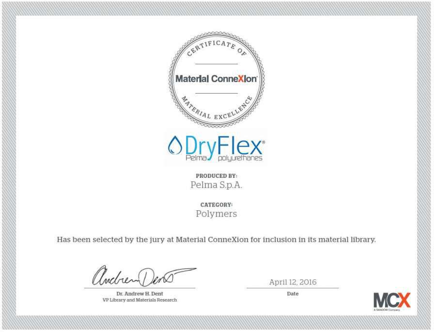 Certificato di eccellenza per Dryflex® di Pelma
