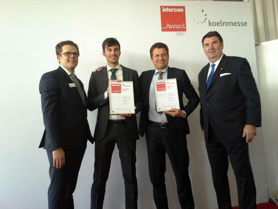 Lorenzo Paniccia R&D, Technical Manager e Piero Paniccia R&D,Technical Director di ICA Group premiat con l'Interzum Awardi