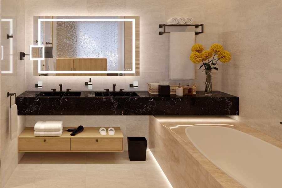 Häfele pour le Contract: miroir multifonction et accessoires en finition noire 0