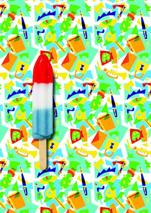 Nuova 2019>2021 Collection di Abet Laminati: Febo, disegno Ugo Nespolo