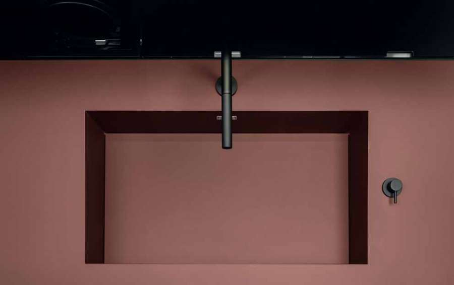 Kitchen Six by Euromobil: detail of the top/level block in Fenix® NTM® red jaipur