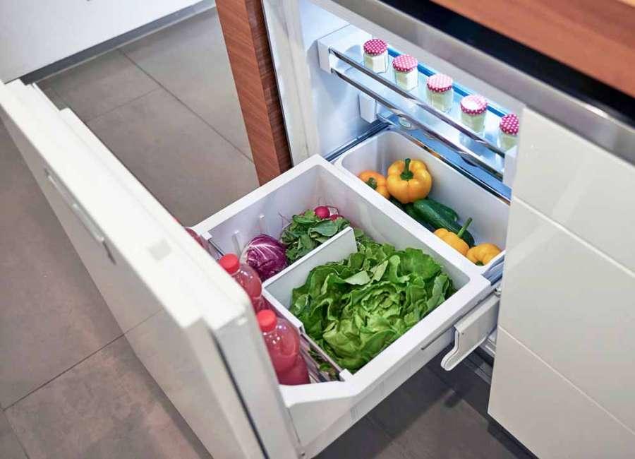 Guida a estrazione totale per cassetto frigo Quadro Compact 2 in a line di Hettich