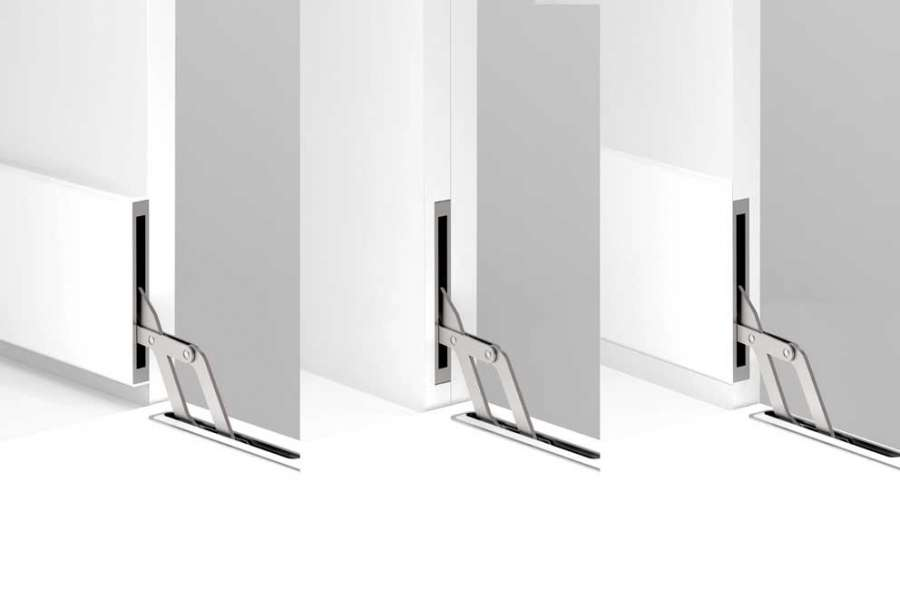El mecanismo único de puerta abatible de Effegibrevetti en tres configuraciones