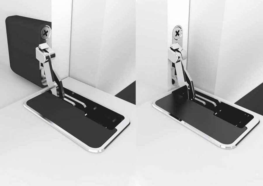 La bisagra invisible para las puertas de solapa In-Side de Effegibrevetti en las dos configuraciones
