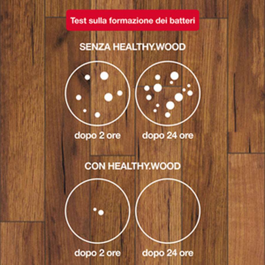 Test sulla formazione dei batteri con e senza Healthy.Wood di Milesi