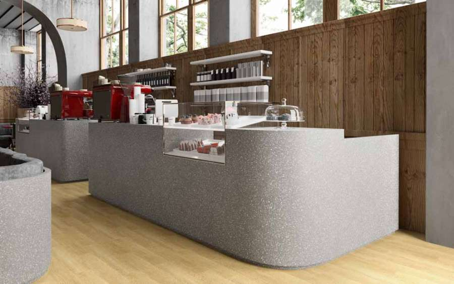 Solid Surface HI-MACS Graue Terrasse für die Realisierung eines Restaurants