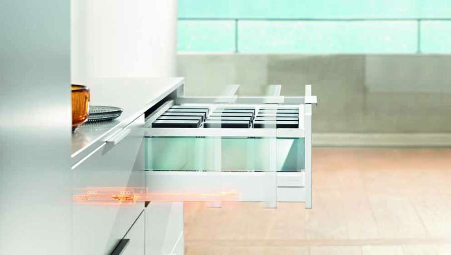 New colours and designs for Blum's Tandembox and Legrabox drawer systems 0