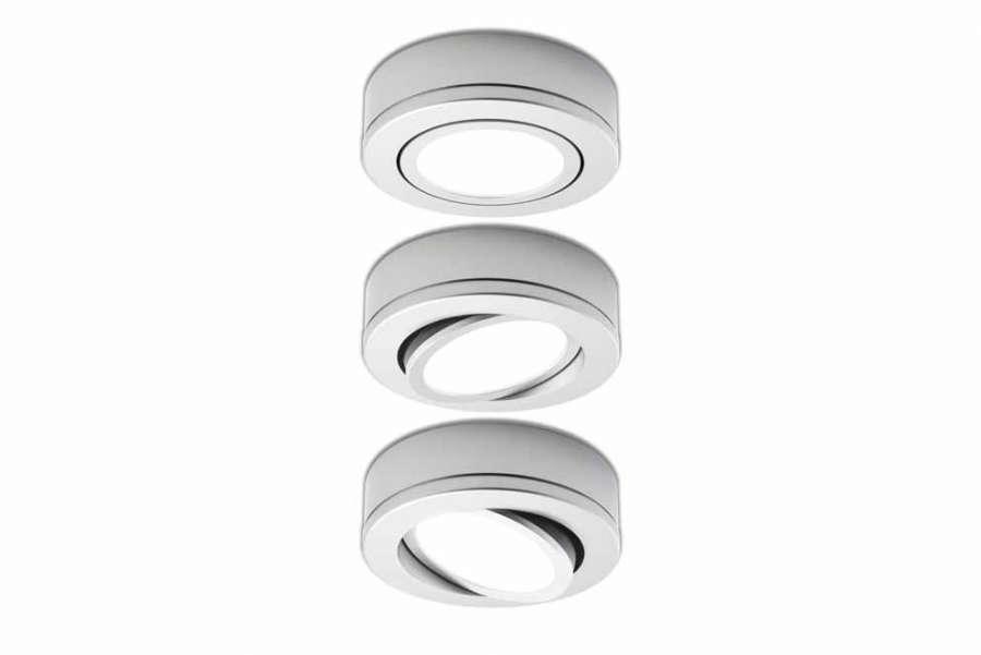 Orbit, in versione per installazione in superficie, finitura alluminio, varie inclinazioni