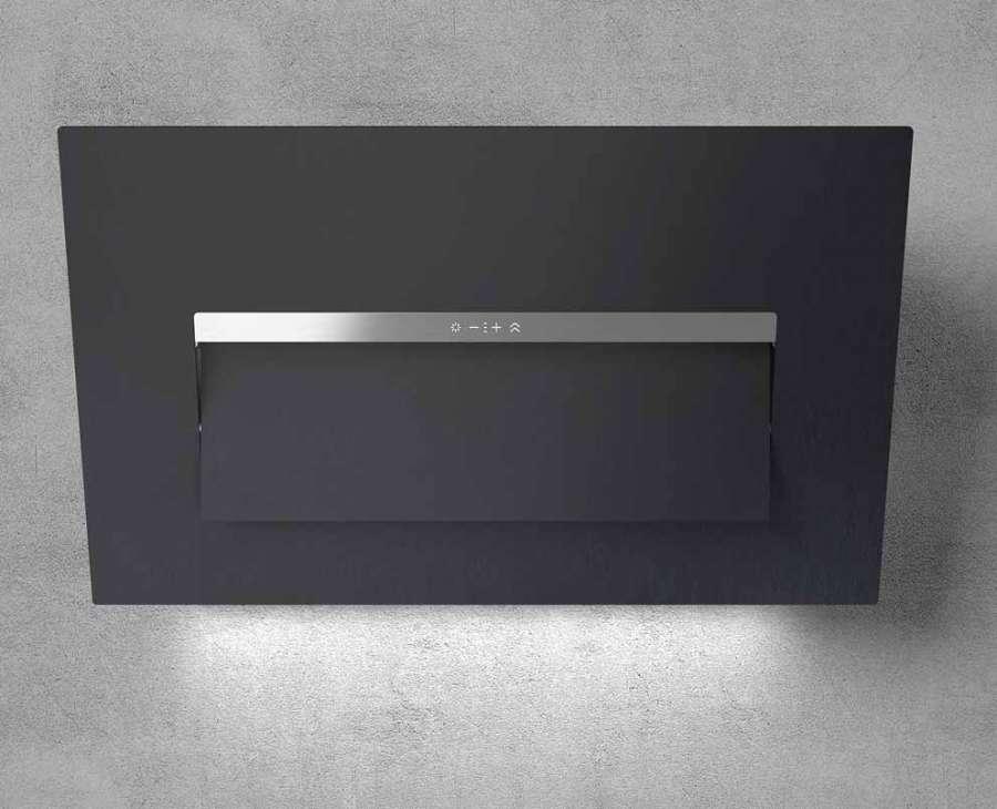 Cappa da cucina BLOOM-S di Elica con frontale in Dekton®: visibile il flap Moving Visor