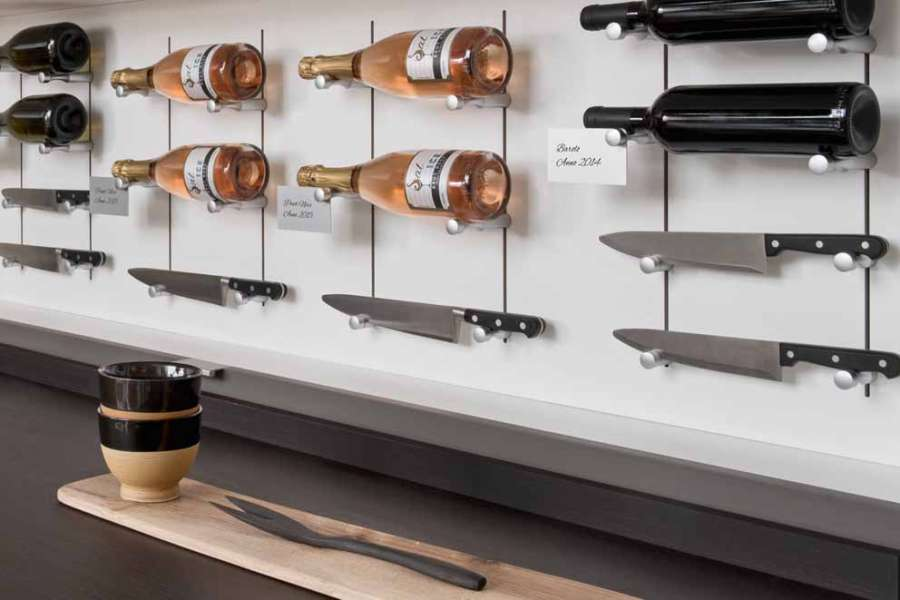 The Pin Wine and Pin Knife element arrangement systems from Salice