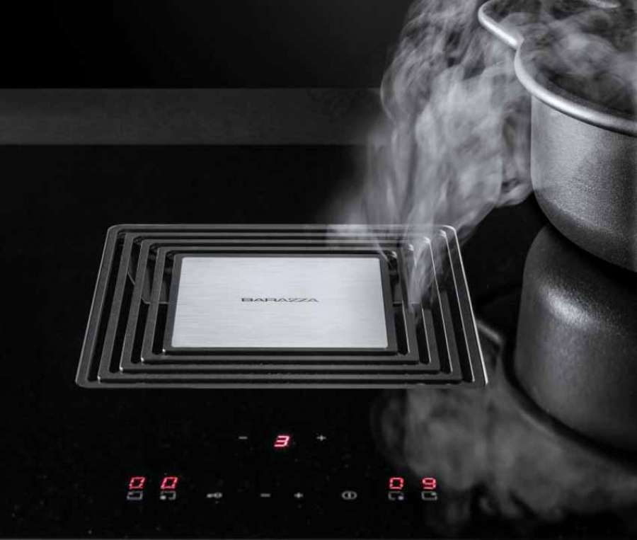 Barazza's Zero induction hob integrates a high performance extractor hood in the centre