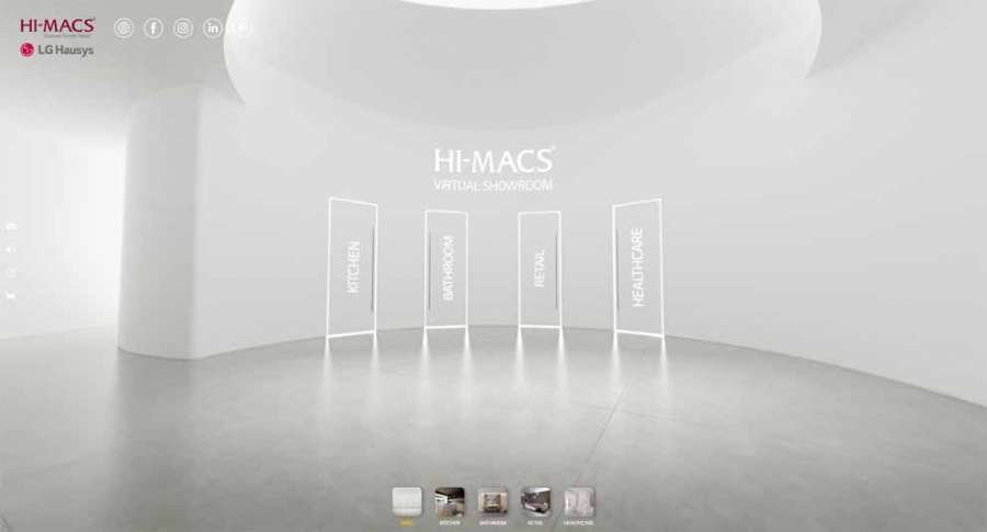 Hi-Macs interactive virtual showroom: the hall