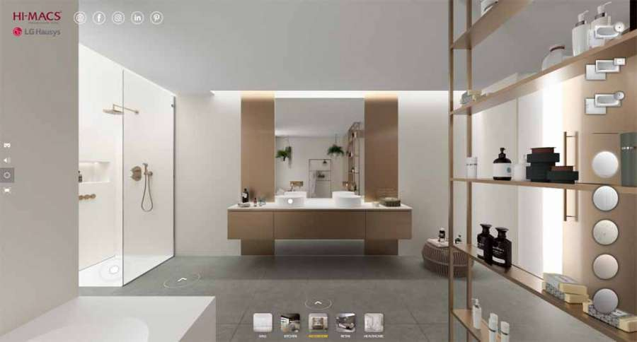 Hi-Macs interactive virtual showroom: bathroom environment