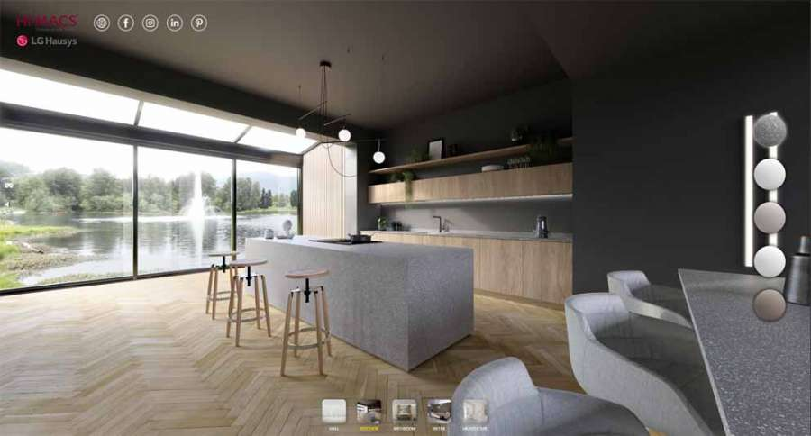 Hi-Macs interactive virtual showroom: kitchen environment