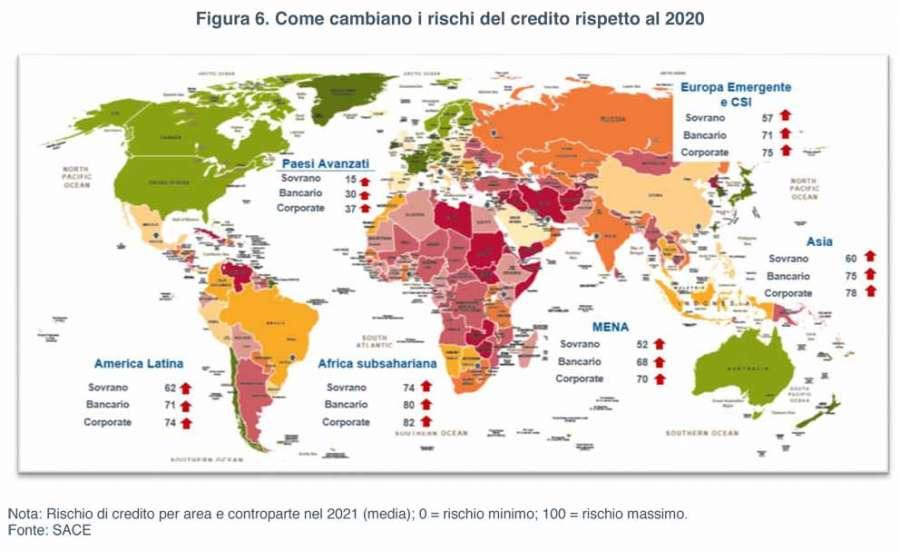 Sace Risk Map 2021: wie sich die Kreditrisiken im Vergleich zu 2020 verändern