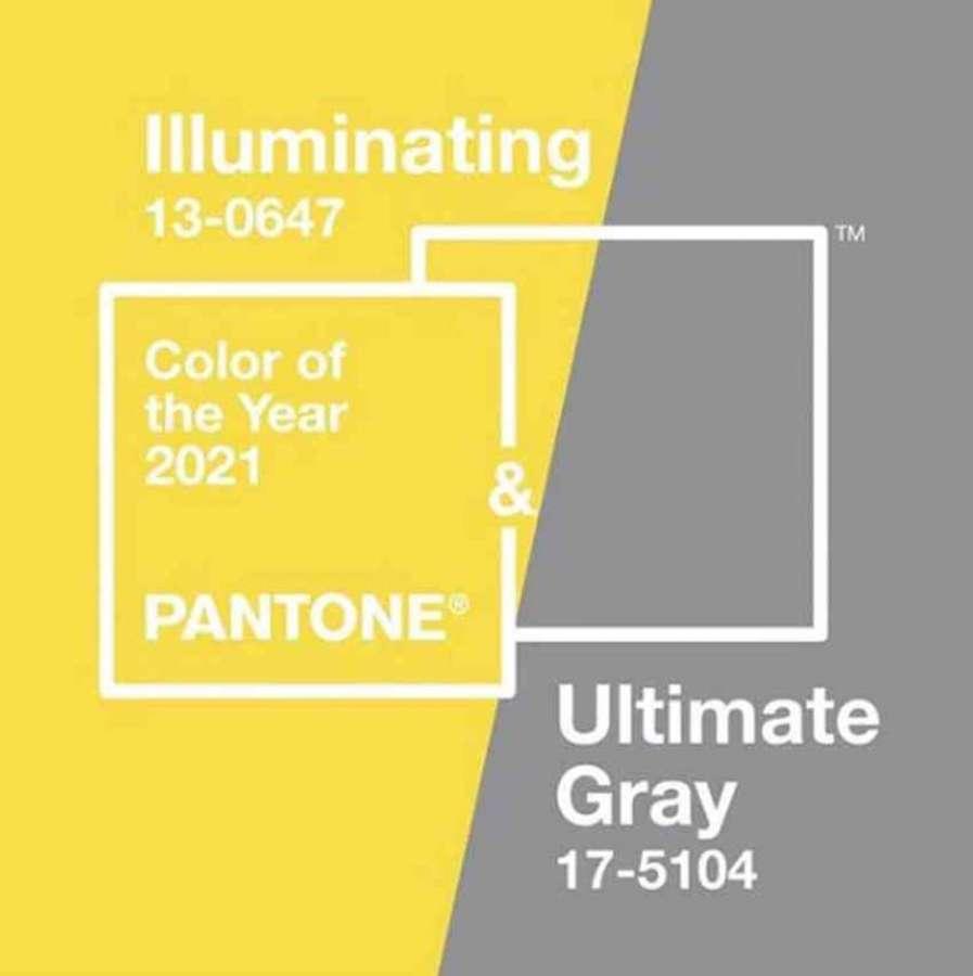 Die vom Pantone Color Institute ausgewählten Farben 2021: 17-5104 Ultimate Gray und 13-0647 Illuminating