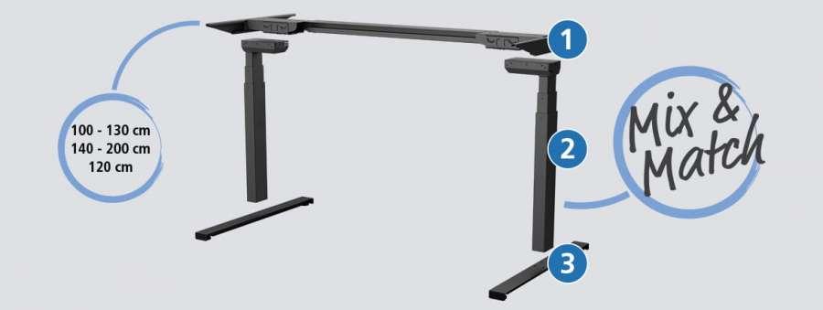 Il telaio compatto Desk Frame 1 Compact di Linak, una soluzione flessibile
