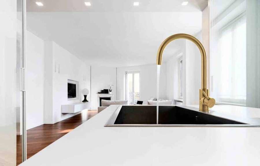 Miscelatore per lavello 40MM di Rubinetterie Treemme, design raffinato nella finitura gold