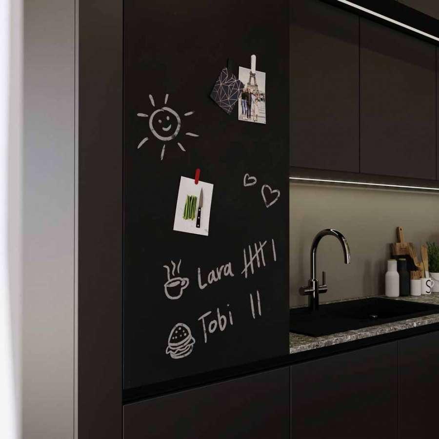 Puerta de mueble magnética y escribible de color negro súper mate