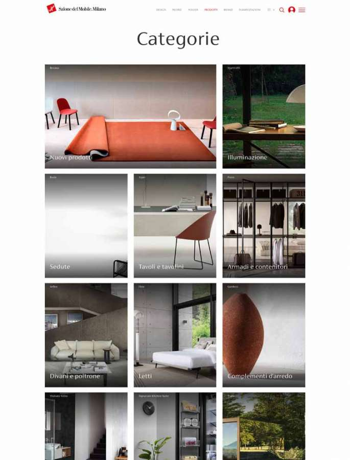 The page of the digital platform of Salone del Mobile.Milano dedicated to Categories