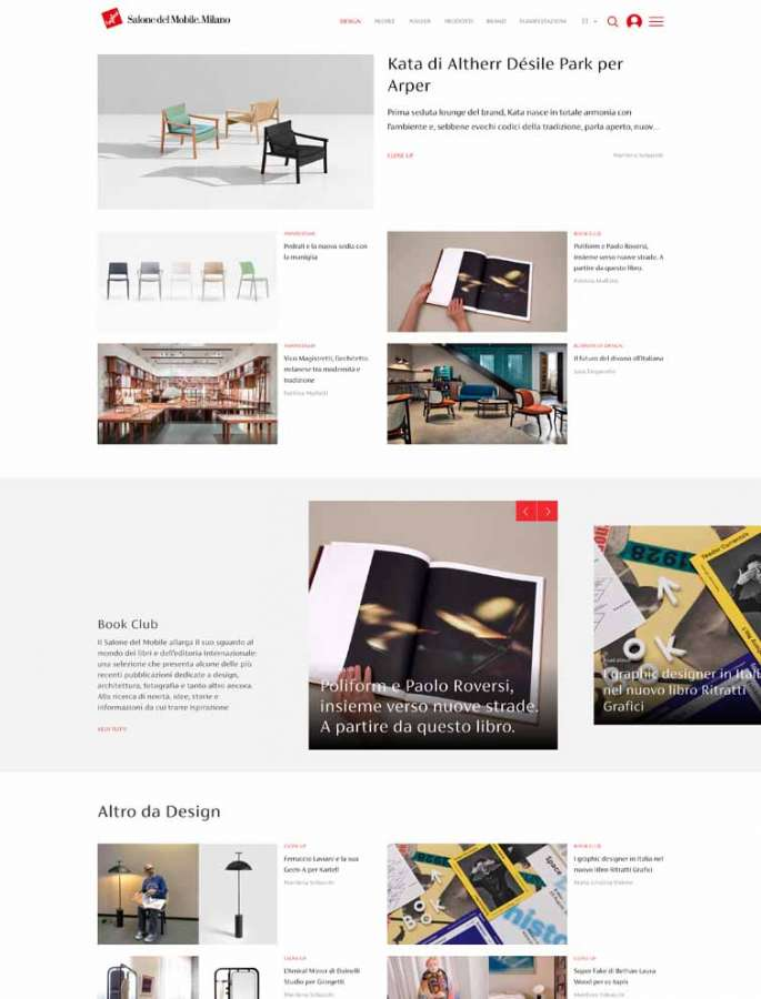 The page of the digital platform of Salone del Mobile.Milano dedicated to Design