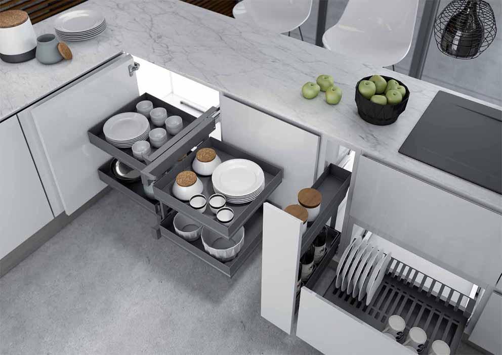 Accesorios para los armarios de cocina Inoxa: el nuevo sistema Ikona