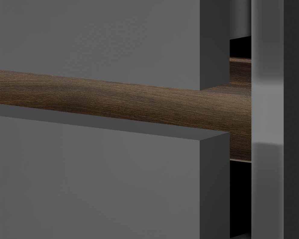Perfiles de mangos Polka 1 Deco y Polka 2 Deco de Ostermann: con efecto cemento, roble y nogal. 10531