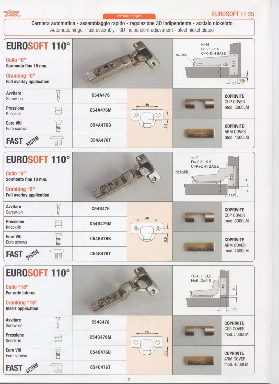 Catalogo cerniere EuroSoft
