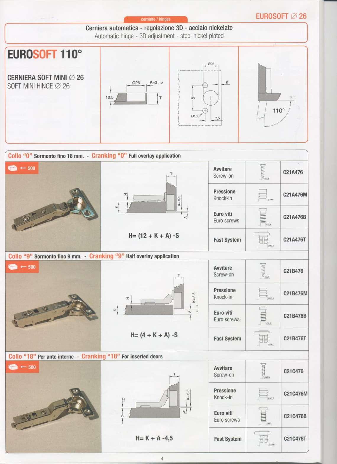 Scarica il catalogo cerniere per mobili eurosoft di stm for Catalogo di mobili