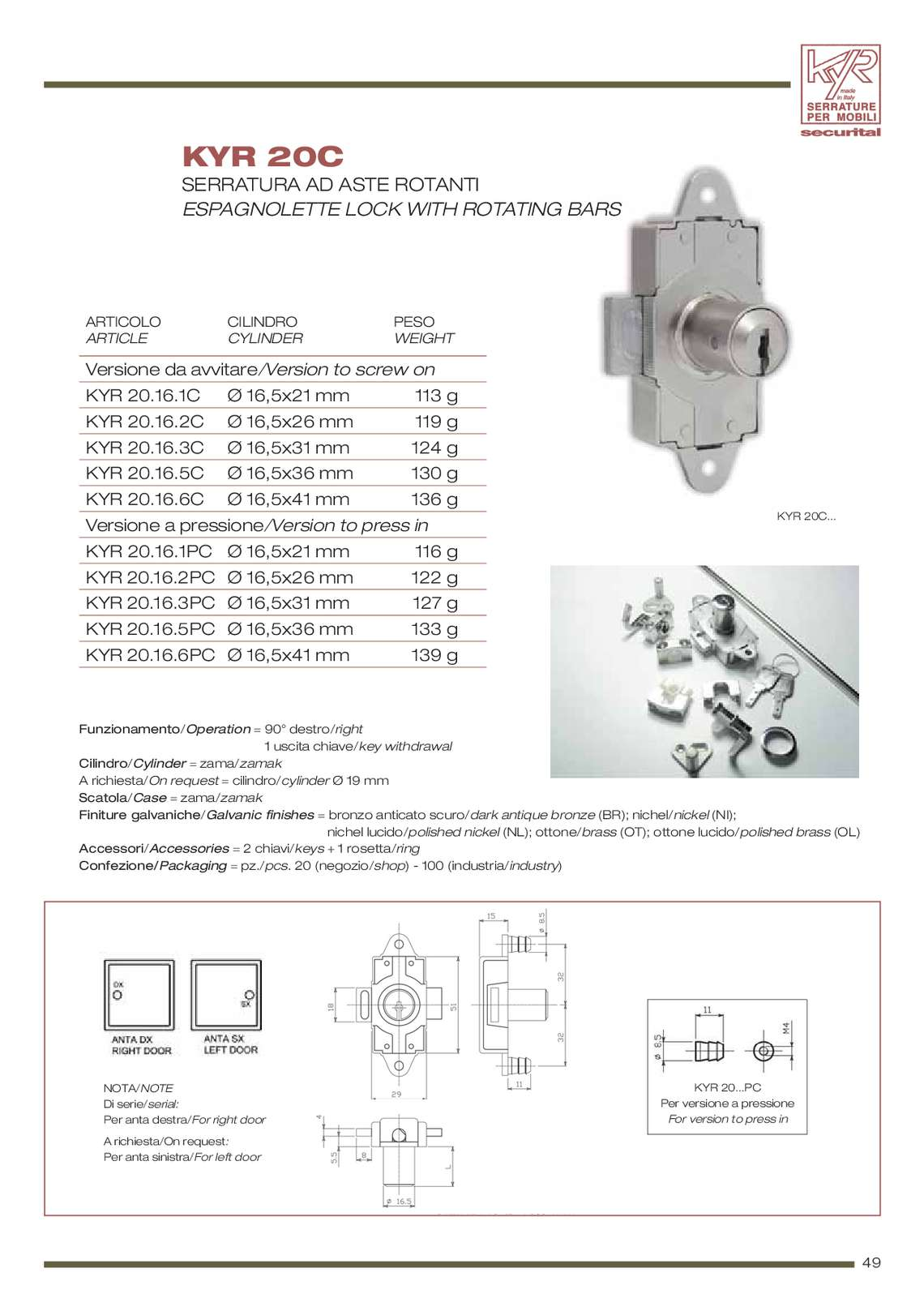 Catalogo securital serrature per mobili di securital for Catalogo di mobili