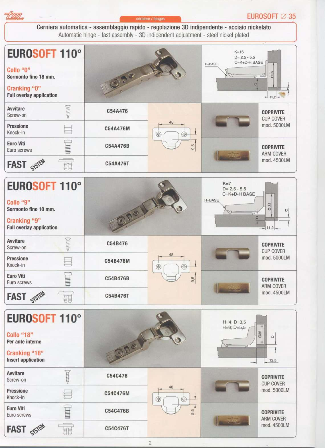Soft closing hinges catalogue
