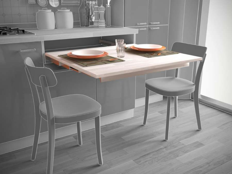DINNER – PULL-OUT SYSTEM FOR TABLE WITHOUT LEG